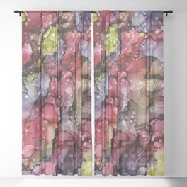 Plum Beautiful: Original Abstract Alcohol Ink Painting Sheer Curtain