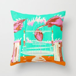 CAGED HEART II Throw Pillow