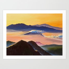Oil painting, sunset in the mountains, artwork on canvas Art Print