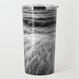 Coastal Nature Photograph Washing Out to Sea in Black and White Beach Art Travel Mug