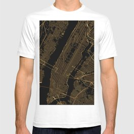 Black and gold New York City map T-shirt