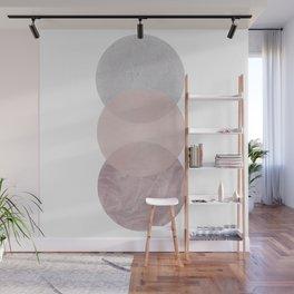 Gray and Pink Circles Wall Mural