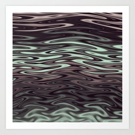 Ripples Fractal in Mint Hot Chocolate Art Print