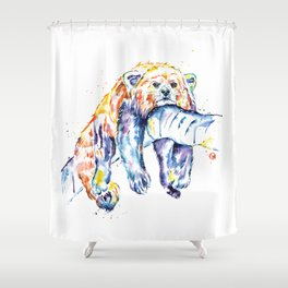 Red Panda - The Long Day Shower Curtain