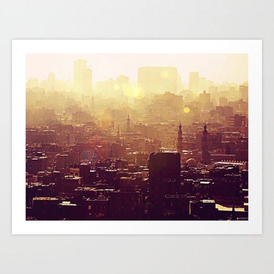 Sunset over Cairo Art Print