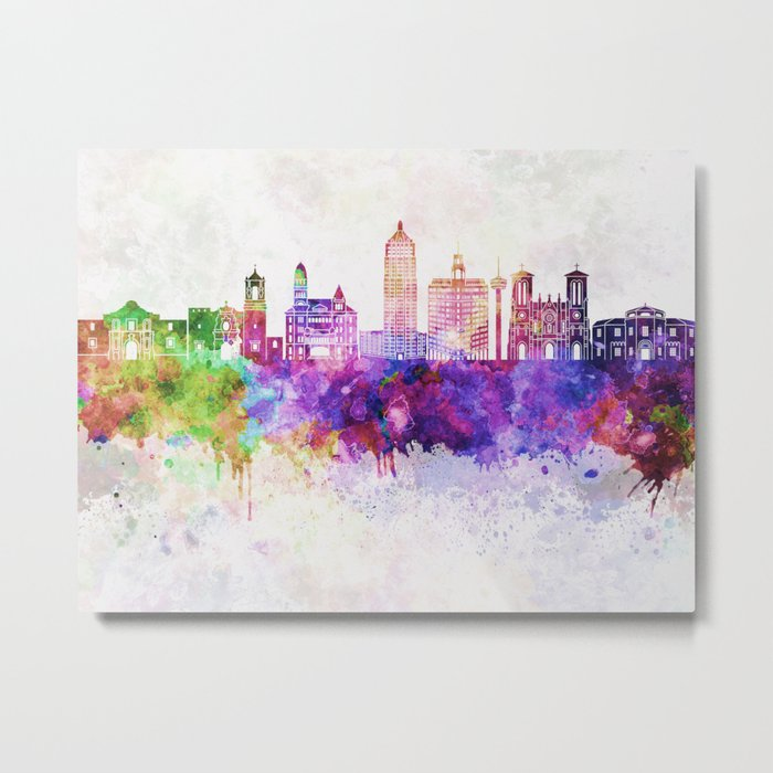 San Antonio skyline in watercolor background Metal Print