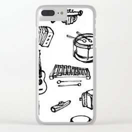 Toy Instruments, Black and White Clear iPhone Case