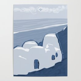 Labyrinth on the Shore, Sketch, Cyanotype Poster