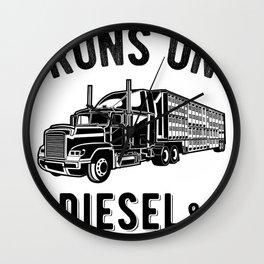 Runs On Diesel and Cuss Words - Semi Trucker Hauling Graphic Wall Clock