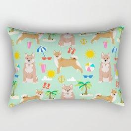 Shiba Inu summer beach vacation dog gifts pure breed pet portrait pattern Rectangular Pillow
