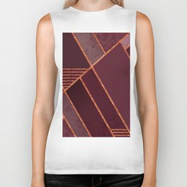 DARK RUBY PURPLE COPPER MARBLE BLUSH GEOMETRIC Biker Tank