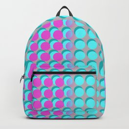 Pink & Aqua Spots on Taupe Backpack