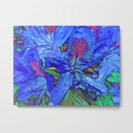 Rhododendron Aqua Metal Print
