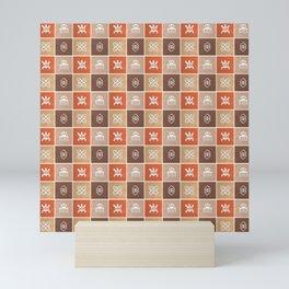 Ethnic african pattern with Adinkra simbols Mini Art Print