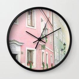 Pink Hotel - Prague, Czech Republic Wall Clock