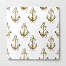 Golden anchor Metal Print