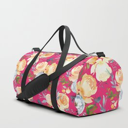 Girly pink teal orange yellow watercolor floral Duffle Bag