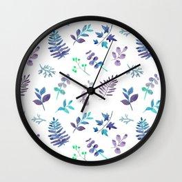 Modern hand painted teal lavender watercolor leaves Wall Clock