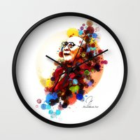 lama Wall Clocks featuring Dalai Lama by Rene Alberto