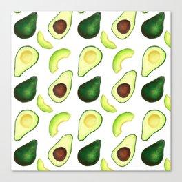 Avocado pattern // Watercolor style avocado decor // Avocado lover Canvas Print