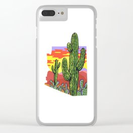 Arizona Saguaro Sunset Clear iPhone Case