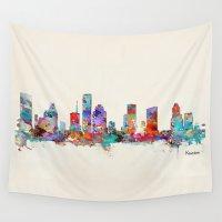houston Wall Tapestries featuring houston texas skyline by bri.buckley