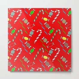 Candy Canes in Red Metal Print