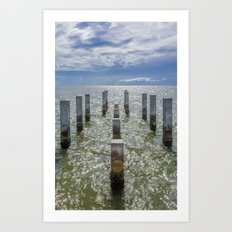 Pieces of an old pier Ship Island, Mississippi Art Print