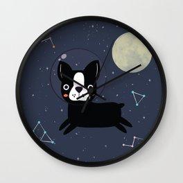 Boston Terrier In Space Wall Clock