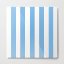 Aero turquoise - solid color - white vertical lines pattern Metal Print