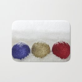 Christmas Baubles Sprinkled With Snow Bath Mat