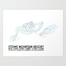 Stowe Mountain Resort, VT - Minimalist Trail Art Art Print