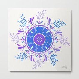 Leaf Mandala – Periwinkle Palette Metal Print