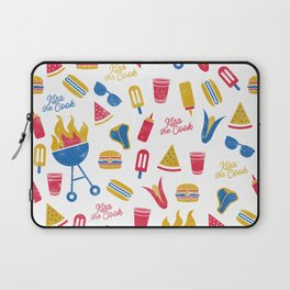 Summer BBQ Pattern - Blue Red Yellow Laptop Sleeve