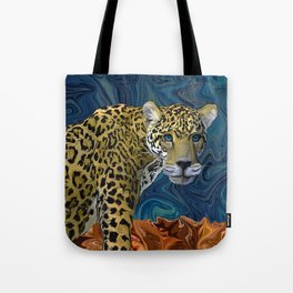 Leopard with the Sky in His Eyes Tote Bag