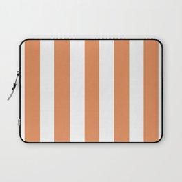 Big Foot Feet orange - solid color - white vertical lines pattern Laptop Sleeve