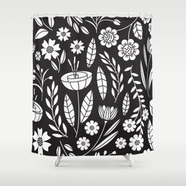 Blooming Field - black Shower Curtain