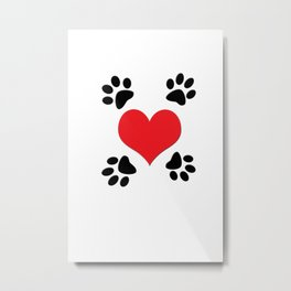 Hearts and 4 Paws Metal Print