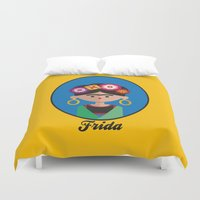 frida Duvet Covers featuring Frida by Juliana Motzko