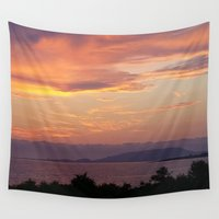 greece Wall Tapestries featuring Sunset in Greece by Bizzack Photography