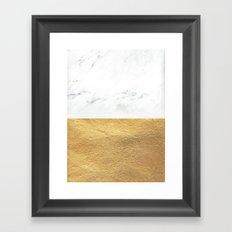 Color Blocked Gold & Marble Framed Art Print