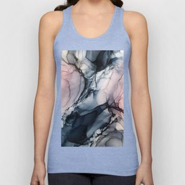 Blush, Navy and Gray Abstract Calm Clouds Unisex Tank Top