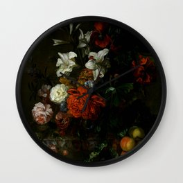 """Ernest Stuven """"Poppies, lilies, roses and other flowers in a glass vase on a draped marble ledge"""" Wall Clock"""