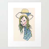 kate moss Art Prints featuring Kate Moss by Sindecualo