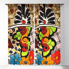 Beautiful Red and Green Talavera Blackout Curtain