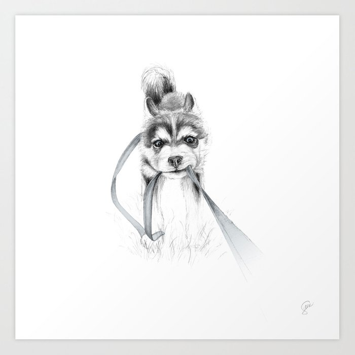 Perseverance A Siberian Husky Art Print By Ripdntorn Society6