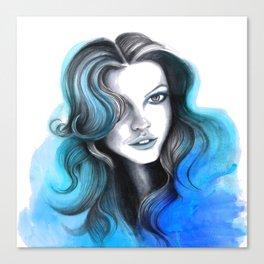Aqua and Dark Blue Flame Hair Canvas Print