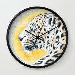 Leopard And The Sun Watercolor Ink Art Wall Clock