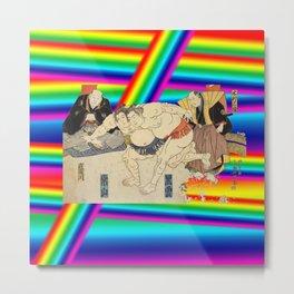 LGBT Sumo Wrestlers. Color Pride. Ukiyoe. Metal Print