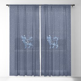 Taurus Constellation and Zodiac Sign with Stars Sheer Curtain